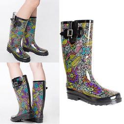 SheSole Womens Waterproof Rubber Rain Boots Wellies Wide Mid