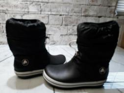 Womens Crocs Waterproof Winter Style Boots Size 9 Black Whit