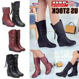 Womens Wedge Heel Mid Calf Boots Ladies PU Leather Fur Lined