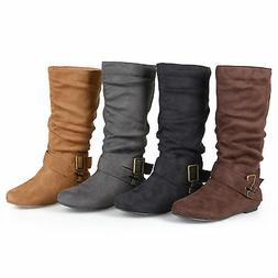 Journee Collection Womens Wide Calf Buckle Slouch Mid Calf B