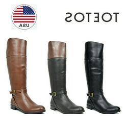 TOETOS Womens Wide-Calf Low Heel Knee High Side Zip Buckle R