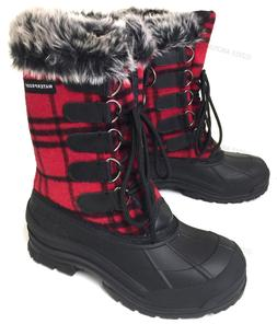 Womens Winter Boots Flannel Plaid Fur Warm Insulated Waterpr