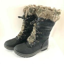 Global Win Womens Winter Boots Fleece Lined Faux Fur Trim Bl
