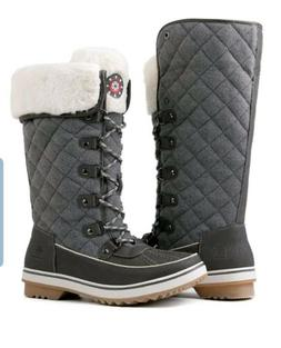 Global Win Womens Winter Gray Snow Boots W/Faux Fur Lining S