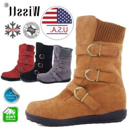 Womens Winter Warm Ankle Boots Fur Lined Snow Buckle Suede S