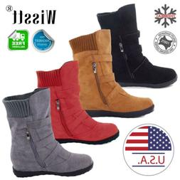 Womens Winter Warm Ankle Boots Ladies Fur Snow Buckle Flat S