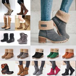 Womens Winter Warm Snow Boots Ladies Block Heels Ankle Booti