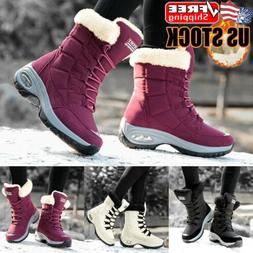 Womens Winter Warm Snow Boots Ladies Waterproof Lace Up Fur