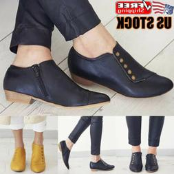 Womens Zip Ankle Boots Booties Slip On PU Leather Buckle Fla