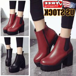 Womens Zip Up Chunky Ankle Boots Ladies Casual Block Heel Pl
