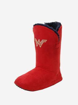 WONDER WOMAN SLIPPER BOOTS DC COMIC RED GOLD BIOWORLD JUSTIC