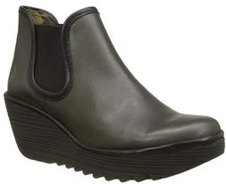 FLY LONDON Yat Anthracite Gray Black Women Wedge Ankle Boots