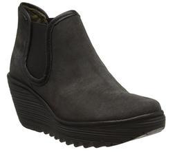 FLY LONDON Yat Diesel Gray Black Women Wedge Ankle Boots US